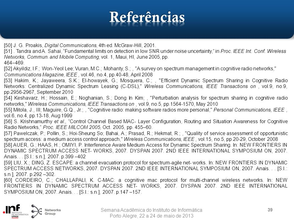 Referências [50] J. G. Proakis, Digital Communications, 4th ed. McGraw-Hill, 2001.